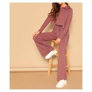 Pink Two Piece Drawstring Crop Hoodie Pants Set